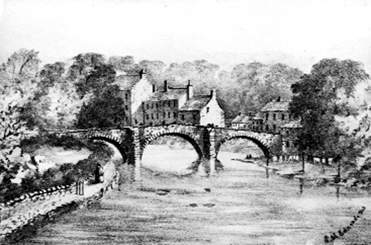 An 1860 illustration of Kendal's Nether Bridge