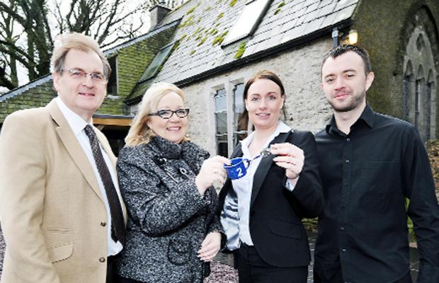 Celebrating the opening of the bunkhouse are John and Diane Taylor, of The Mason's Arms , Cartmel Fell, and Nicki Higgs and Tom Roberts, managers of The Wheatsheaf Inn