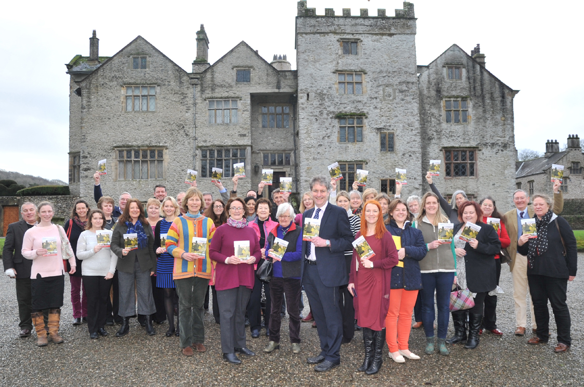 Cumbria's Living Heritage Chair - Peter Frost-Pennington (Muncaster Castle), Vice-Chair - Lady Cressida Inglewood (Hutton-in-the-Forest) and all 30 attractions represented at Levens Hall brandishing the new 2014 Cumbria's Living Heritage guide.