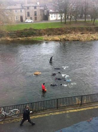 Police divers search River Kent for an alleged weapon. Picture by Claire Heron.