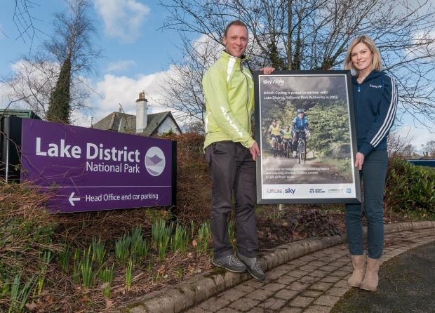 Richard Leafe, Chief Executive, Lake District National Park with Caroline Gilbert from British Cycling