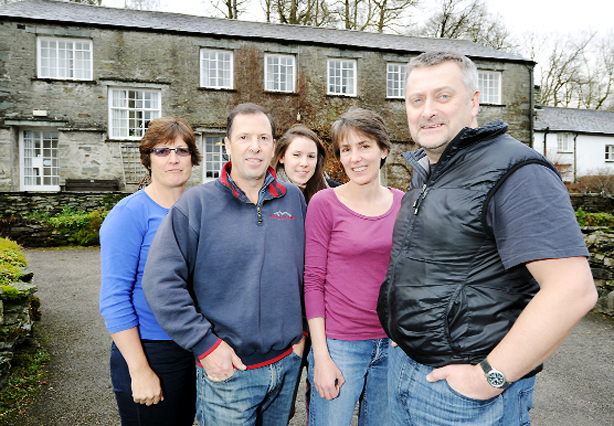From left, Christine, Alan and Alison Thomas with hostel staff member Charlie Spiller and manager Nick Owen
