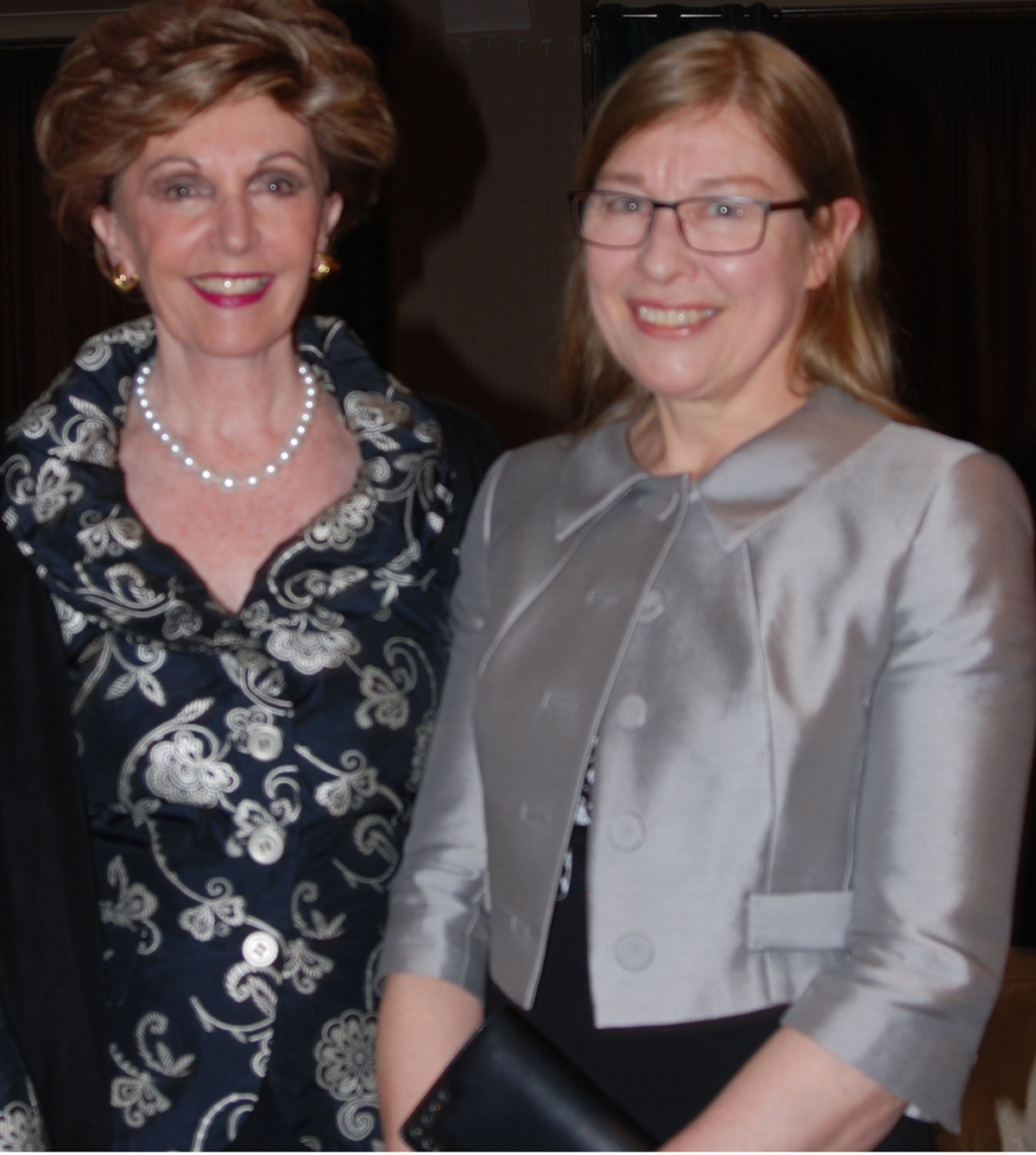 Dr Ann Myatt (right) at the dinner with Jackie Foster MEP, deputy leader of the Conservative group at the European Parliament