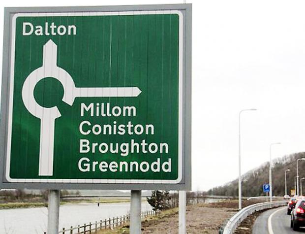 The new sign with the wrong spelling of Greenodd (Picture by Archie Workman)