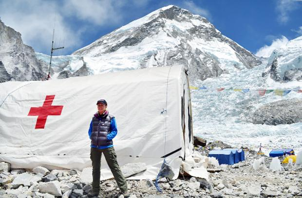 Dr Kirsty Watson at Everest base camp on an expedition last year