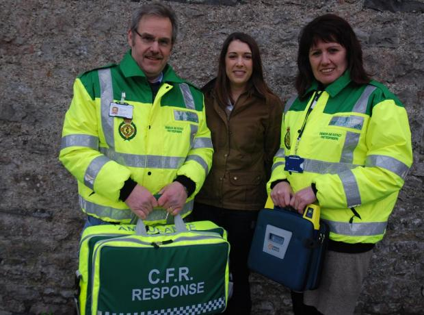 The first responders' team leader Martin Smith and field trainer Tricia Berry with Katie Perkin, communications manager at the Banks Group.