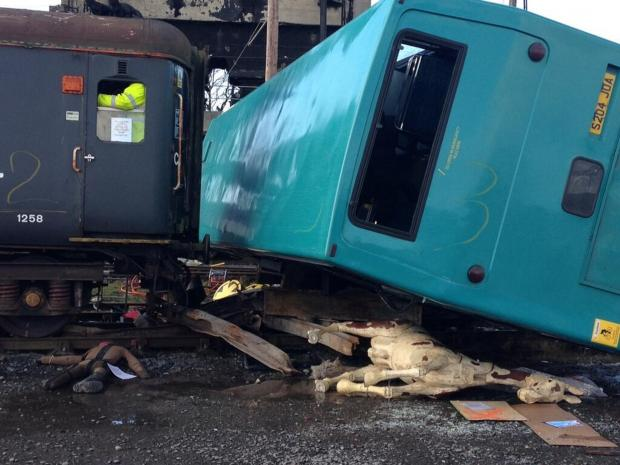 The cause of the fake incident - a bus and train collision