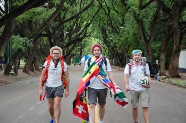 Adam Burns, Pete Johnston and David Bewick set off on their epic World Cup walk