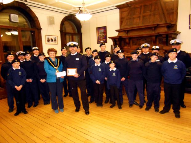 Kendal Mayor Sylvia Emmott presents the Wainwright Award to Kendal Sea Cadets