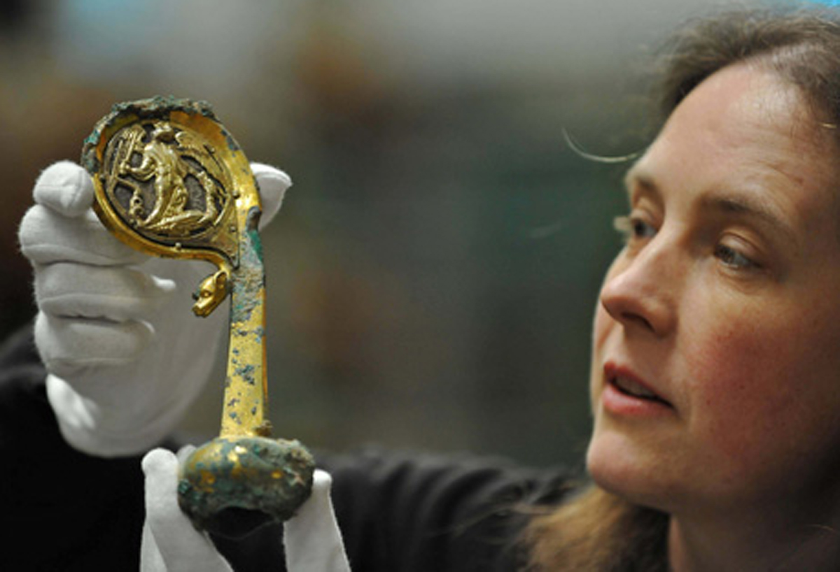 English Heritage curator Susan Harrison with the Furness Abbey crozier which will go on show at the Medieval Fair in August
