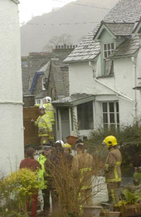 Firefighters outside the home in Bridge Street, Ambleside on New Year's Eve