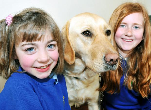 Pictured above with guide dog Connie are nine-year-olds pupils Ellen Houllihan and Evie-Mae Clapp