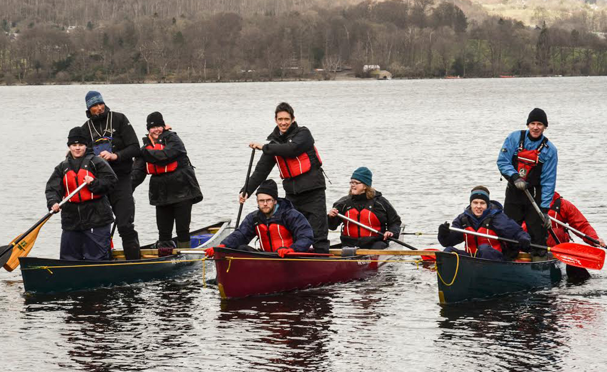 Rory Stewart MP (standing in middle) tries out Ullswater