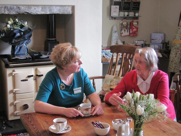 Visitor services supervisor  Elaine Taylor chats with Mary Bower, Grasmere resident and volunteer at Allan Bank in the new kitchen.