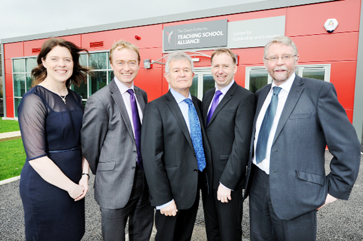 At the opening at Queen Katherine School are (left to right) Alison Chapman, Tim Farron MP, Frank Green, head teacher Gareth Roscoe and executive head teacher Stephen Wilkinson