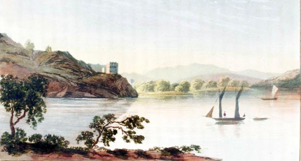 A print showing the Claife Station taken from the 1821 book A Picturesque Tour of the English Lakes by TH Fielding and J Walton