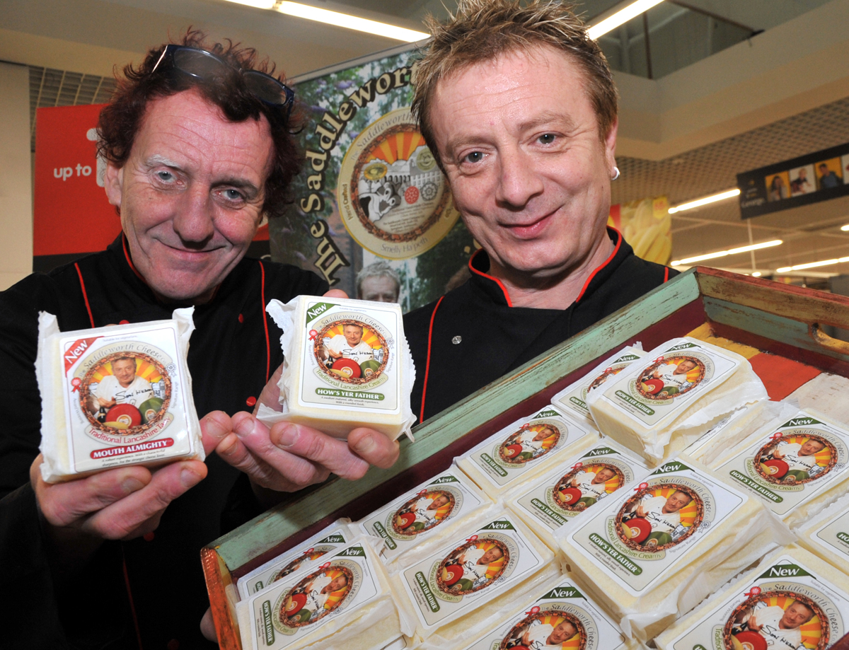 SAY CHEESE! Former Coronation Street actor Sean Wilson (right) with his business partner Mark Revell, pictured at Asda in Kendal