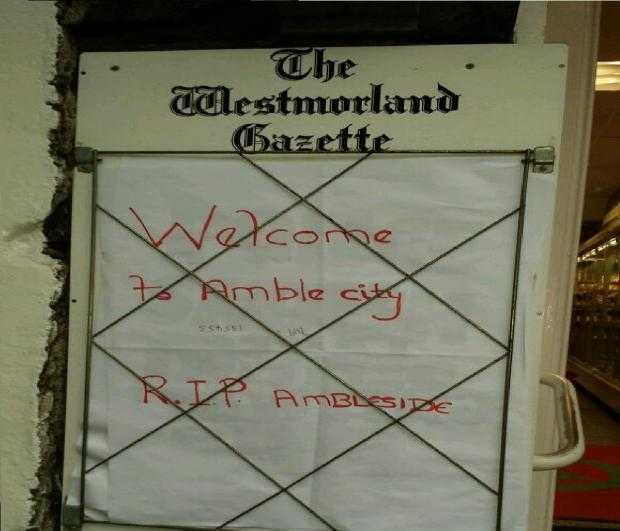 Welcome to Amblecity says the sign outside The Spar