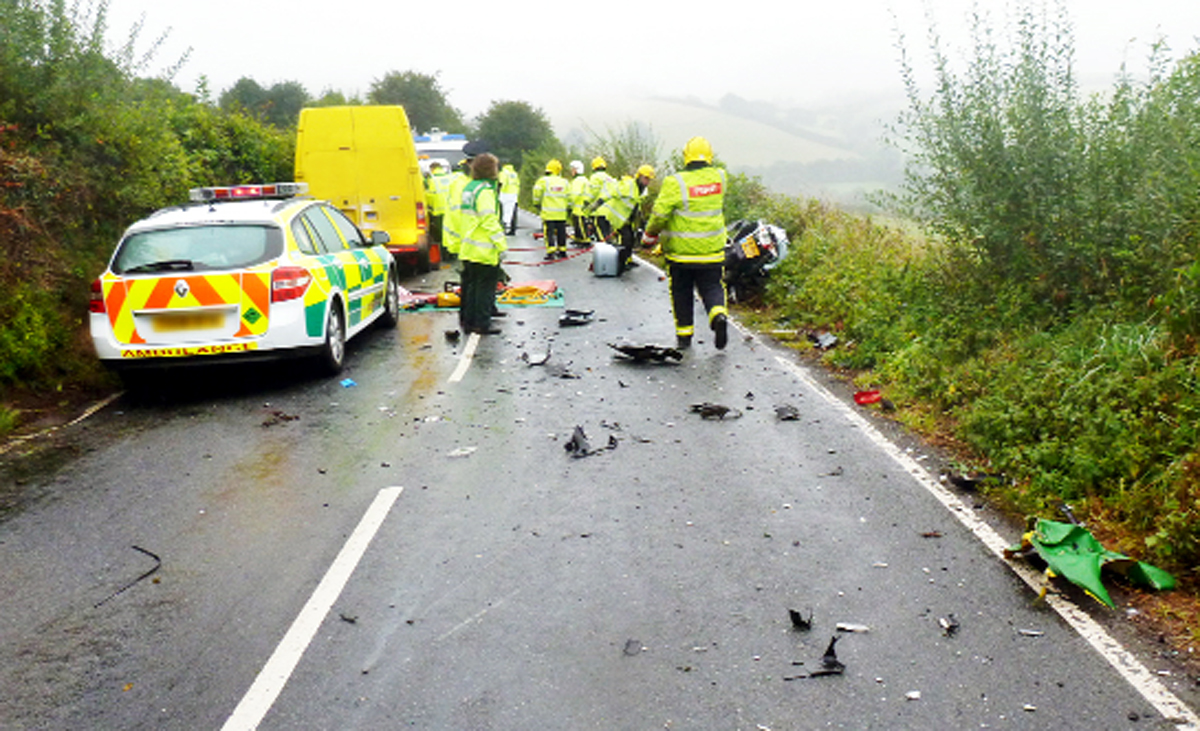 Emergency services deal with a crash