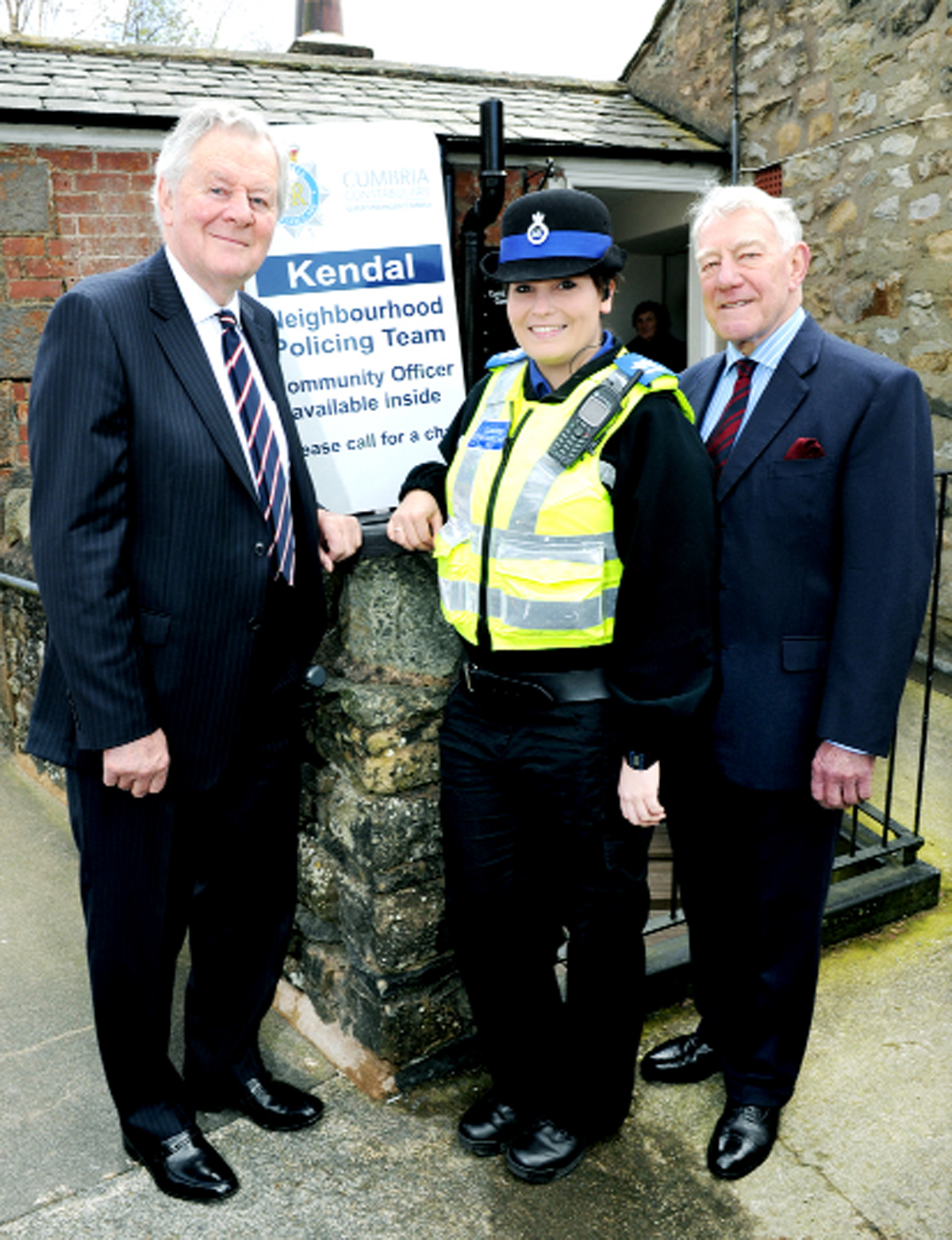 At the opening, from left, Richard Rhodes, Cumbria Police and Crime Commissioner, PCSO Danielle Ayers, and Tony Reed Screen, chair of the trustees of the building