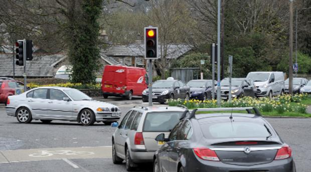 Traffic lights at Burton Road, Heron Hill and Oxenholme Road