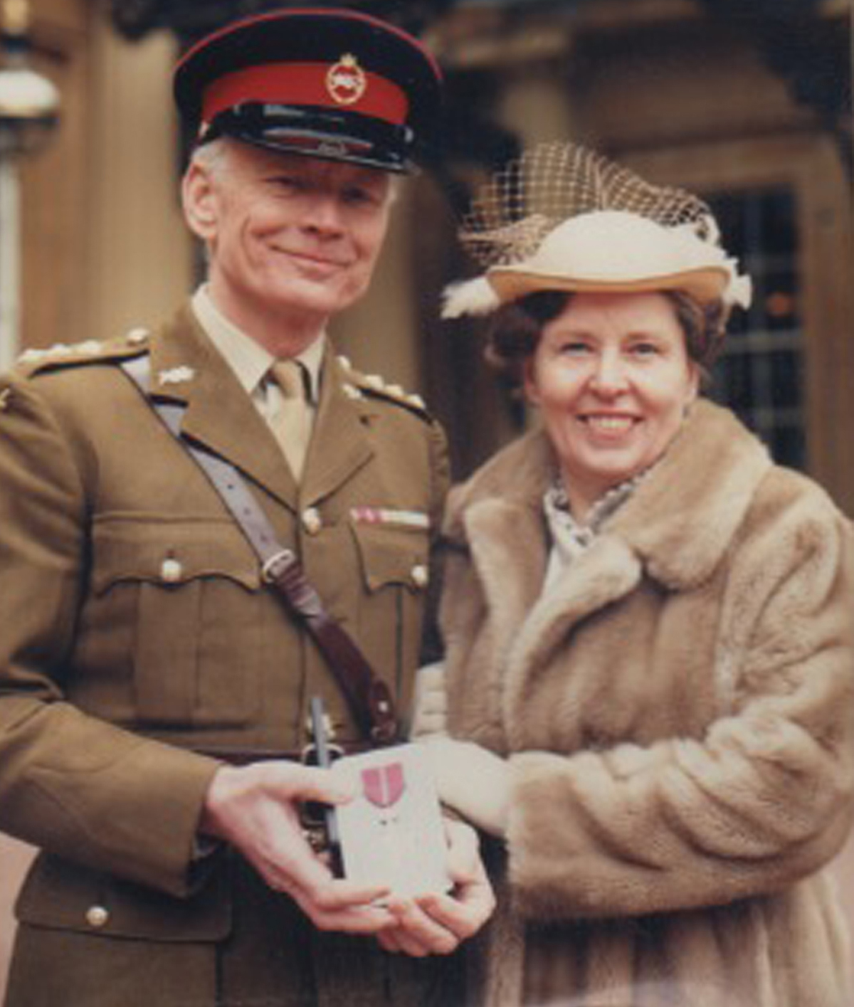 Major Peter Taylor with his late wife Gladys in 1985 at Buckingham Palace when he received an MBE