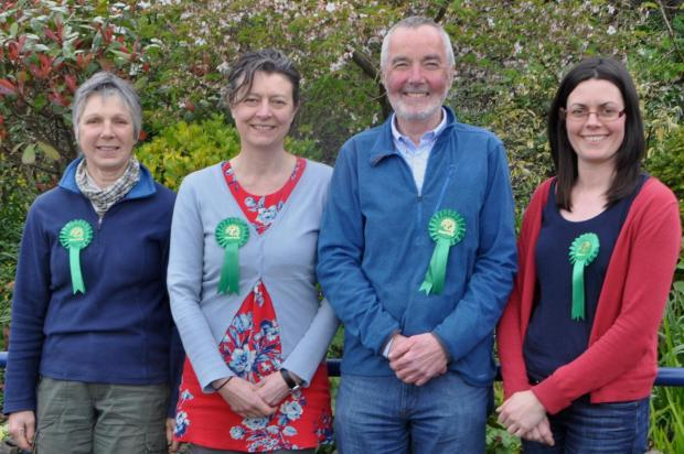 Four of the 17 Green Party candidates. From left to right: Liz Ashburn, standing for Castle Ward; Karen Mitch