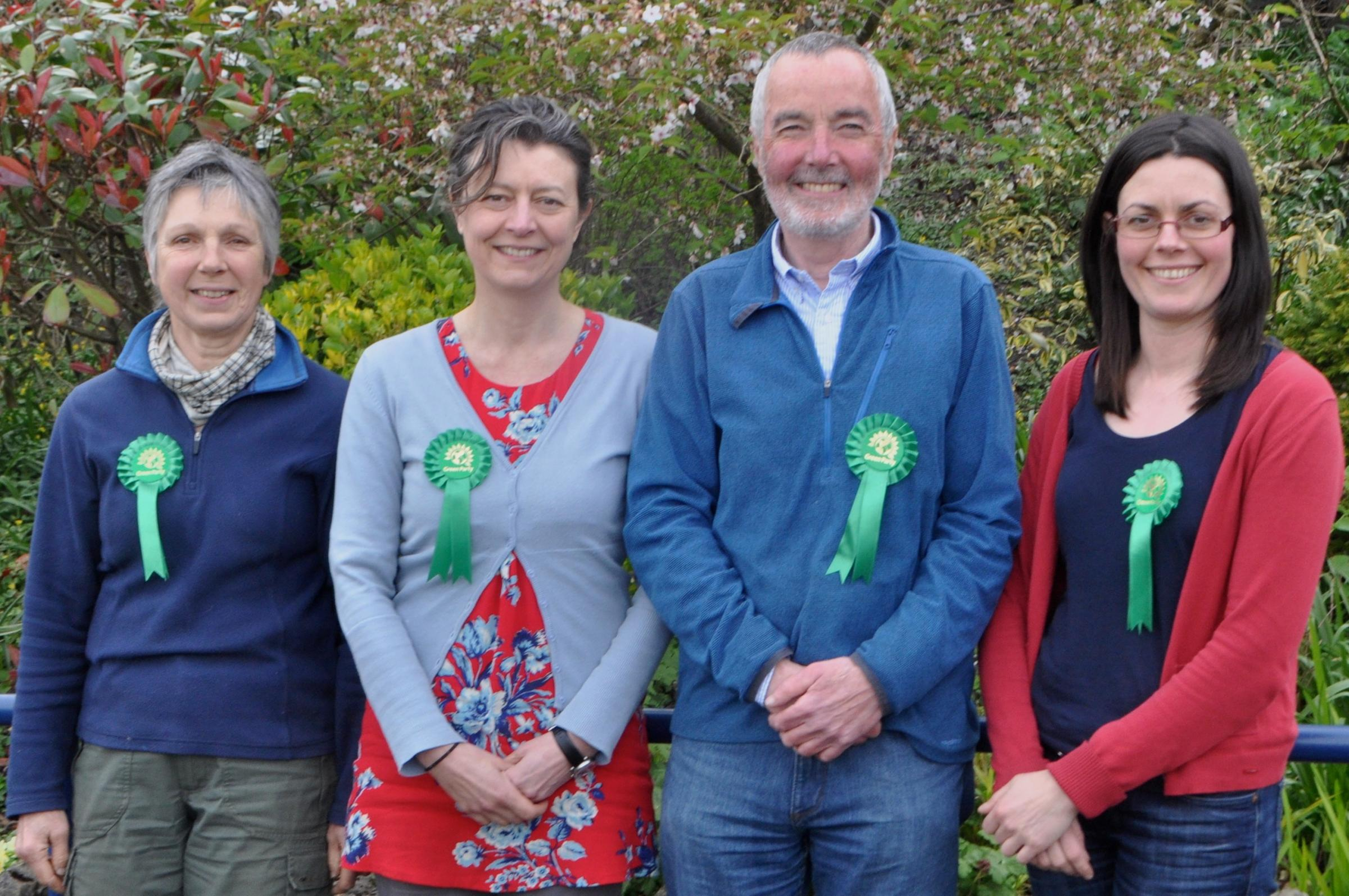 Four of the 17 Green Party candidates. From left to right: Liz Ashburn, standing for Castle Ward; Karen Mitchell, standing for Mintsfeet; Chris Rowley, standing for Kirkland; and Gwen Harrison, standing for Kendal Fell