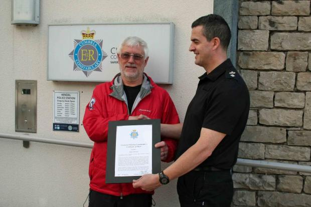 Former Kendal Mountain Rescue Leader honoured for 'exceptional service'