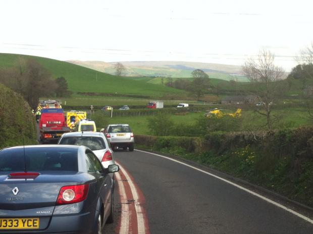 Traffic was queueing around two miles from Kirkby Lonsdale after the collision