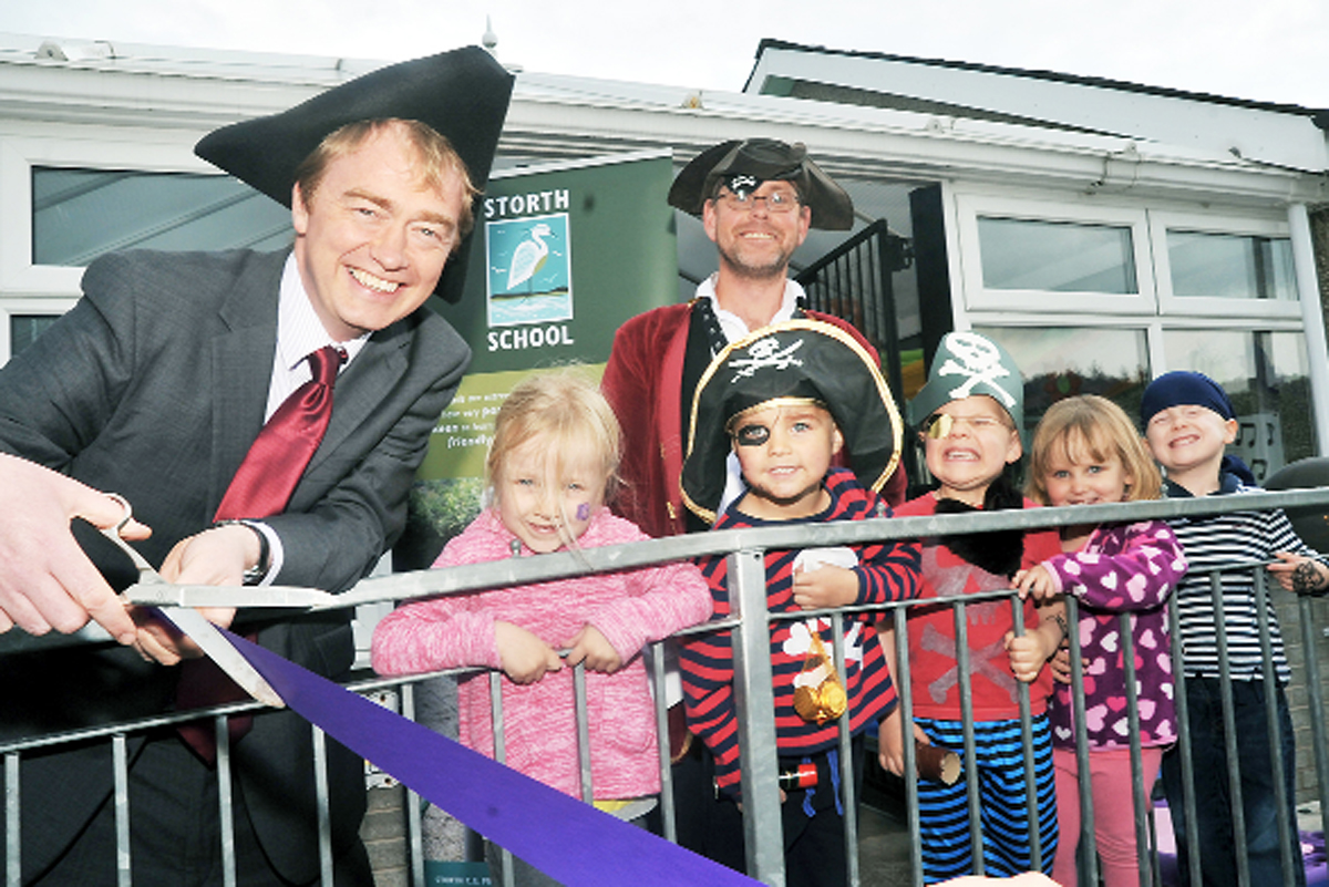 MP Tim Farron cuts the ribbon to launch the nursery at Storth School