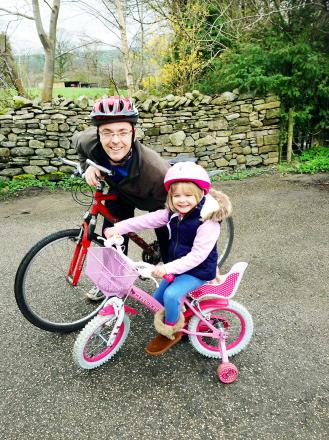 HEARTY BIKER: Esie-May Dancer with dad Richard