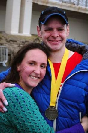 Pictured with wife Louise after Blackpool Marathon.