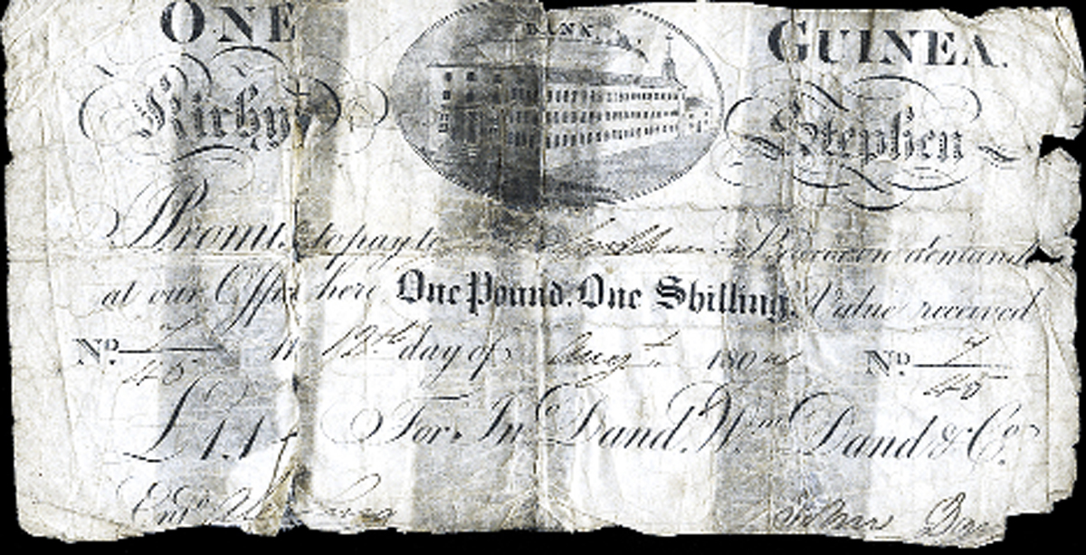 The banknote issued in the early 19th Century