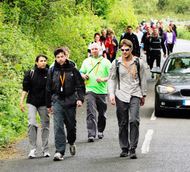 Some of the hundreds of Keswick to Barrow walkers stride out