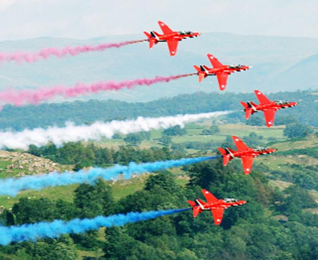 The Red Arrows at a previous Windermere air show