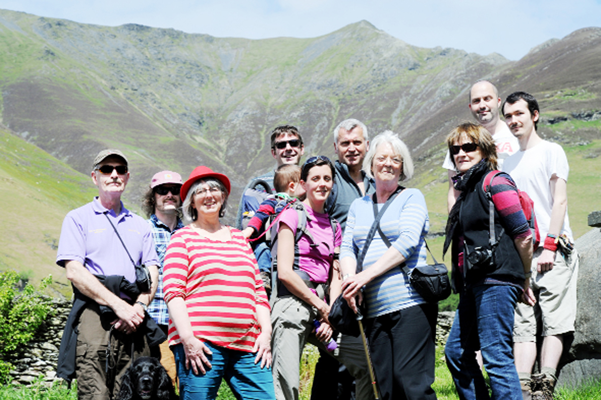 Friends of Blencathra members at the foot of the mountain