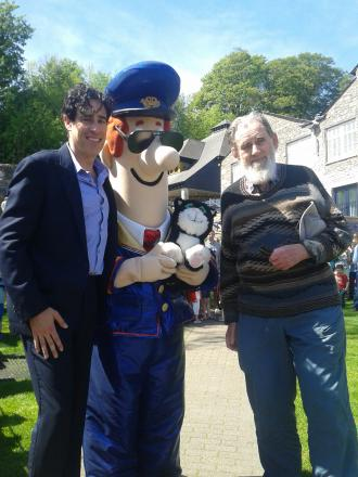 Stephen Mangan, Postman Pat and John Cunliffe at The Brewery for today's Kendal Premiere of Postman Pat: The Movie