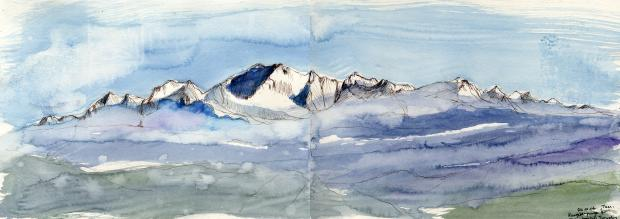 of the pieces of artwork, by mountain painter Susan Dobson, that will be on show in the 'Mountain in Mind' exhibition, which forms part of the Mountain Legacies event