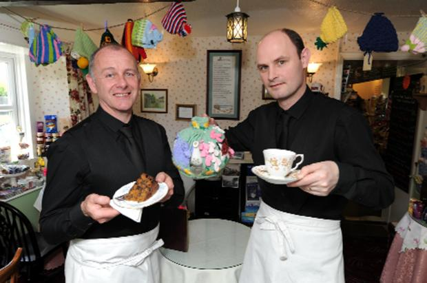 Geoff Hodgson and Stephen Garry with cake and tea refreshments at Cowan Bridge