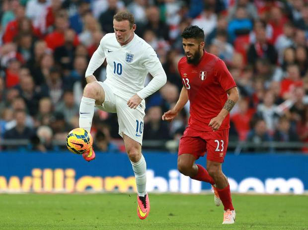 Rooney on the ball against Peru