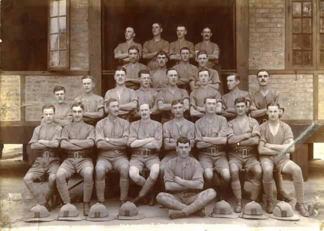 Soldiers who were on 'garrision duty' in Burma during World War One. Fred Wills is pictured second left on the front row
