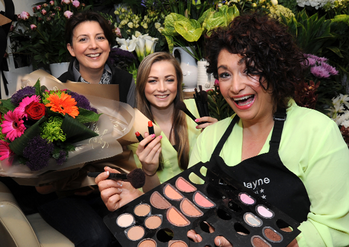 Florist Alex Brooker, left, who helped bride Sarah Holmes together with make up artist Lisa Jayne, right, and trainee Emma Panter