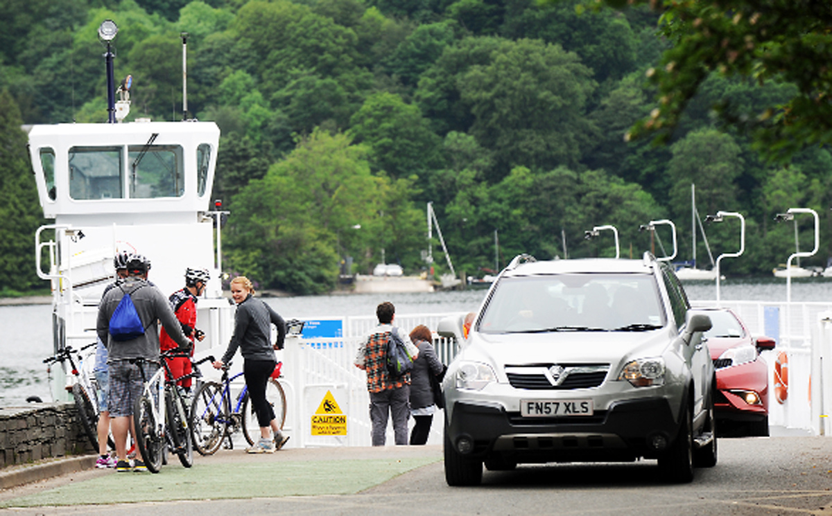 Cars roll off the Windermere ferry