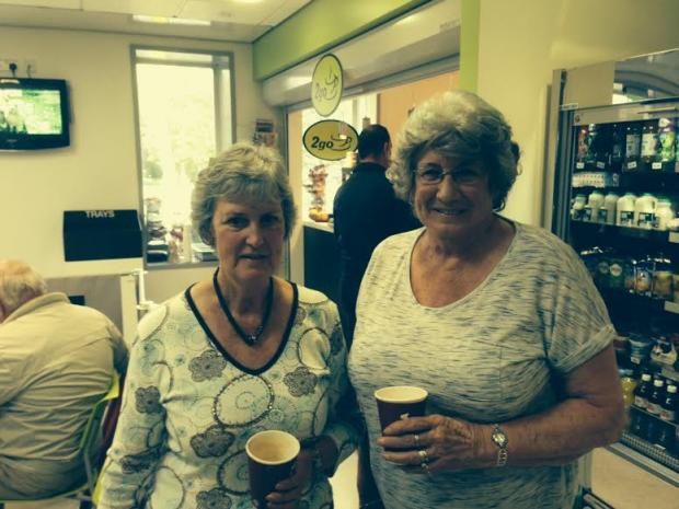 Madelon Gilpin and Ann Philbin from Kendal at the 2Go café at Royal Lancaster Infirmary