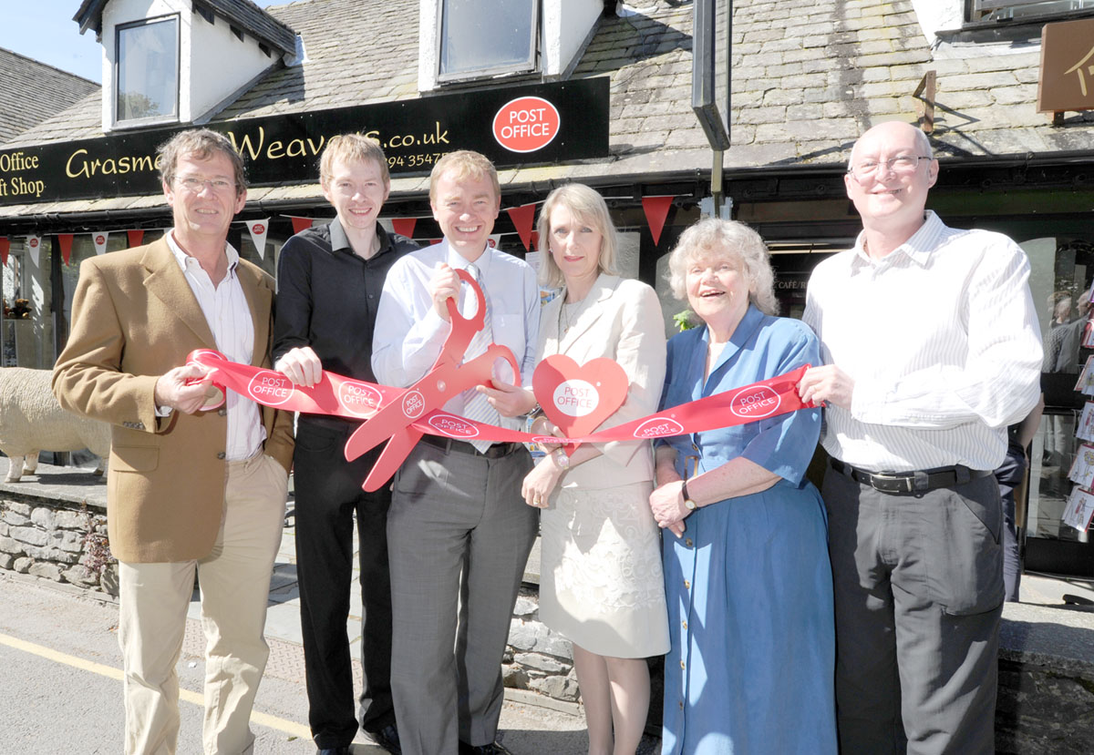 From left, Renwick Russell, owner of the property, Roger Halliday, Postmaster, Tim Farron MP, Karen Bragg, Field Change Advisor for the Post Office, Vivian Rees, parish and district councillor and Malcolm Jessop, former Postmaster
