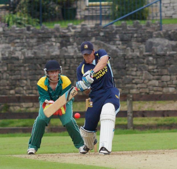 Netherfield skipper Marc Brown on his way to 43 against Penrith at Parkside Road
