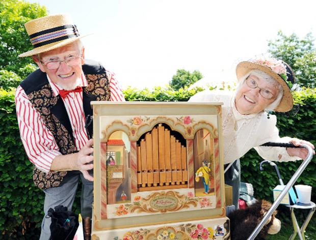 Arthur and Betty Watson with their traditional street organ