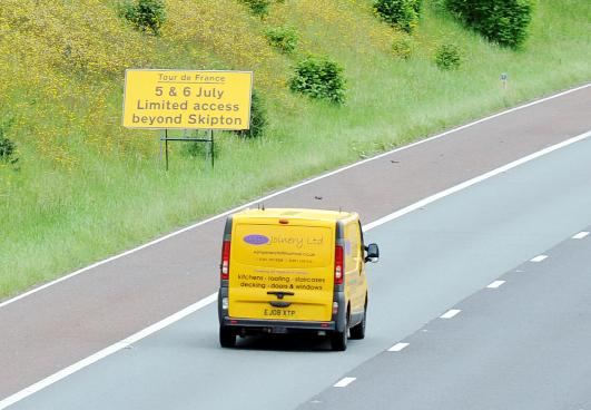 The Westmorland Gazette: Signs warning of the road closures for the Tour de France are already in place