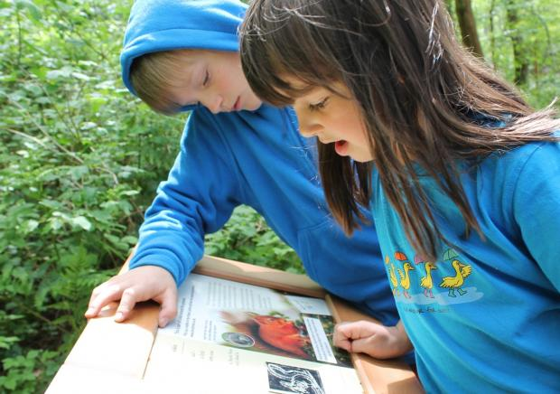 Young visitors Arlo and Cora Barker, nine and six, from Kendal, see how Squirrel Nutkin started out at Brockhole's new Beatrix Potter trail